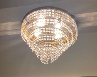 #1 - $295 Rounded beaded chandelier 2'w x 1'h