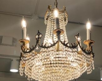 """#2 - $595 - 8 lights chandelier with beaded shades 30""""H x 30""""W"""