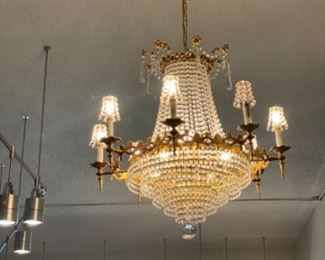 #2 - $595 - 8 lights chandelier with beaded shades