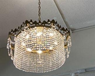 "#4 - $295 Round modern style crystal chandelier 2'W x 18""T"