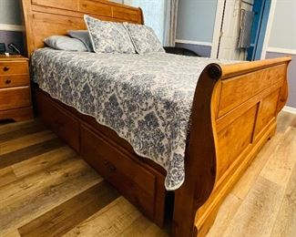 Bittersweet Ashley Queen size wood bed frame  $595 with storage drawers, with wood night stand, & $799 Nectar Premier Nectar Cloud mattress (less than 9 months old) with mattress protector  • 55high 96deep 60across
