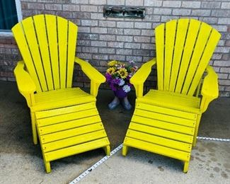 $145   Yellow Adirondack chairs with Ottomans •  solid wood  • Sold as set