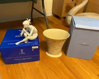 "Large Wedgewood  ""Interiors"" Vase NIB and discontinued,  Kaiser Porcelain girl NIB"