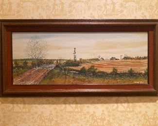 Original artist signed acrylic Texas landscape painting