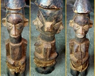 Wooden African double sided sculpture