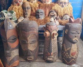 Large wooden African masks. BaPende Pumbu.  Other masks also pictured.