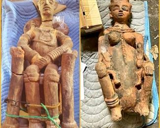 African carved king and queen (Nigerian terracotta). Needs repair. The highlight of the collection. Each piece is over 2 ft tall.