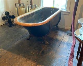 19th century zinc tub with original oak trim