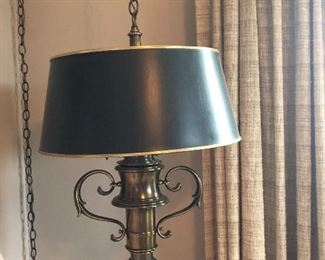 Vintage Colonial Revival Hanging Brass Lamp