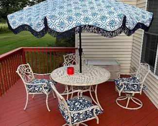 Absolutely Gorgeous Aluminum Outdoor Patio Set Consisting Of Table, Umbrella, Two Swivel Chairs & Two Stationary Chairs