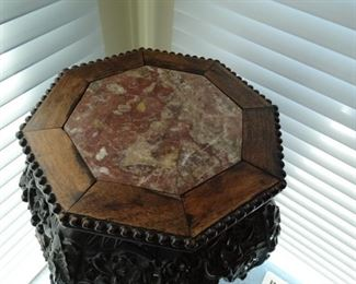 Chinoiserie Marble Top Plant Stand