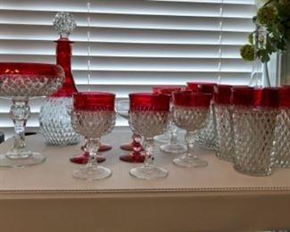 Indiana Ruby diamond cut glassware