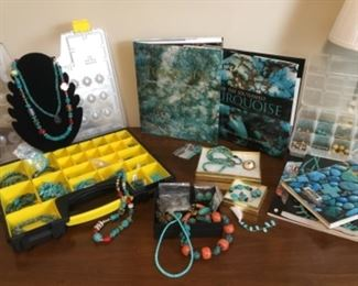 Turquoise jewelry, beads, and books