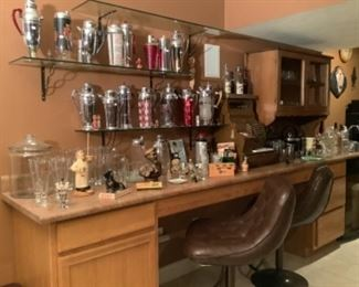 Beautiful collection of martini shakers with numerous more in Part II sale