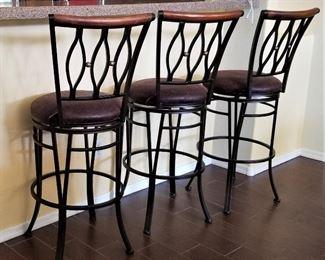 3 wood and metal swivel bar stools