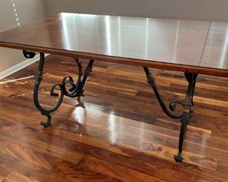 Solid wood and iron table