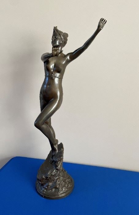 """Bronze by Paul Aichele (German 1859-1910). """"Diane"""" measures 31 1/2"""" tall. Comes with heavy marble base (not pictured)"""