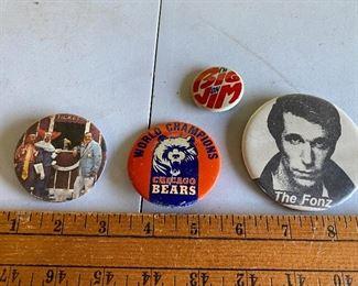 Bozo, Bears, Fonz and Big Jim Buttons $12.00