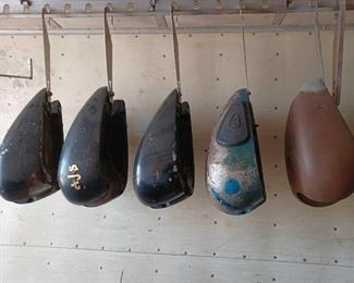 #122 • Two A.J.S Motorcycle Gas Tanks And Three Unbranded Motorcycle Gas Tanks