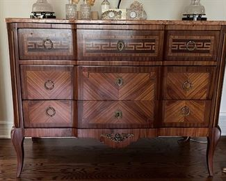 """Louis XVI style pink marble topped block front chest - approx 19"""" deep, 44"""" wide and 32"""" tall.  Cassard et Cie."""