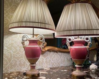 Meissen Antique Pink Double Snake Handle Lamps