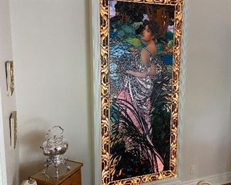 """Bogenreif Stained Glass - """"Ladies of Bogenreif"""" -Mounted in Lightbox.  Apprx 6.5' x 3'"""