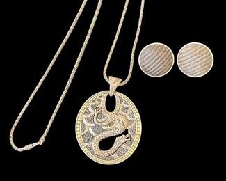 """John Hardy - Legends Naga Pendant - Silver, 18K Gold, Black Saphires.  Chain is 17.5"""" Long.  John Hardy Silver and Wood(?) Button Earrings."""