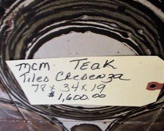 MCM TEAK TILED FRONT CREDENZA, 78X34X19  $1,600.00