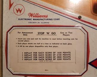 "Williams Stop ""N"" Go pin ball machine"