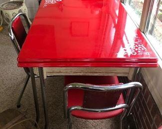 Vintage Red Enamel Table ....
