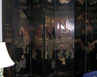8 panel coromandel two sided screen.  Measures 12 feet by 8 feet tall.  Impressive.  $3250.