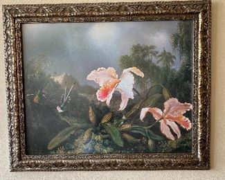 """Beautifully Framed Painting Print on Wrapped Canvas. """"Jungle Orchids & Hummingbirds"""" by Martin Johnson Heade, """"1872"""". Touch of class that measures 33 3/4"""" wide x 27 1/2"""" long."""