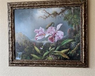 """Beautifully Framed Painting Print on Wrapped Canvas. """"Study of an Orchid"""" by M. J. Heade, """"1872"""". Measures 33 3/4"""" wide x 27 1/2"""" long."""