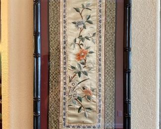 Bamboo Framed of Oriental Hand Sewn Cloth.