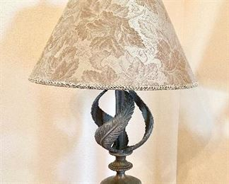 """""""Rembrandt Lamp Co,"""" Swirling Feathers Neoclassical Table Lamp. (1998) Antiqued brass patina finish. Classic solid sturdiness."""