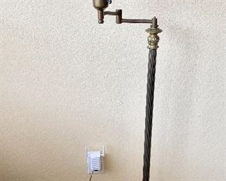 Art Deco Brass Swing Arm Floor Lamp. Onyx Marble Alabaster Base with Glass Shade.