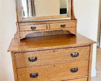Antique Farmhouse Victorian Chest of Drawers with Tilting Mirror. Circa 1890's.