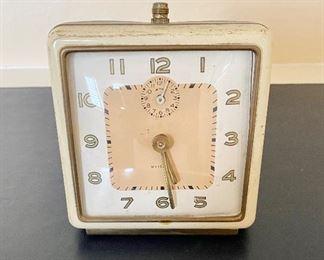 "Vintage Art Deco ""Westclox"" Square Faced Working Alarm Clock."