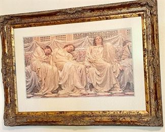 """Beautiful Gold Framed Print of Sleeping Maidens. Measures 42"""" wide x 31"""" length."""