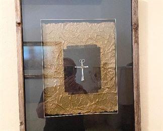 Framed Metal Cross Art