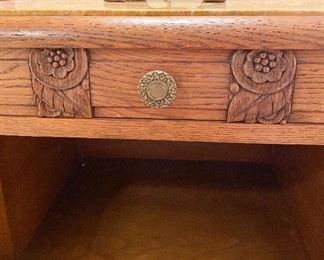 Additional photo of bedside table carvings.