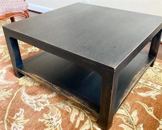"""Pottery Barn heavy brushed black wooden coffee table. I have a pair but selling separately. Like new condition. Measures 31 1/2"""" x 31 1/2"""" x 16"""" tall."""