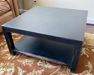 """Pottery Barn heavy wooden coffee table. I have a pair but selling separately. Like new condition. Measures 31 1/2"""" x 31 1/2"""" x 16"""" tall."""