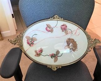 Antique Oval Bubble Glass Metal Frame