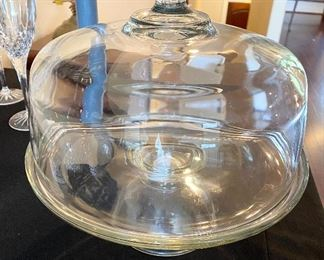 Heavy Glass Covered Cake Plate