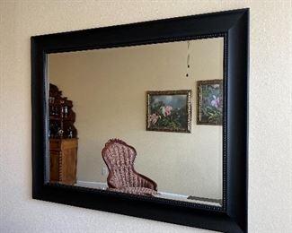"Large Wooden Framed Beveled Mirror. Measures 57 1/2"" wide x 45 1/2"" length."