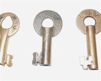 $60 each obo- CRR of NJ,  DL&W and Lehigh Valley RR brass padlock keys