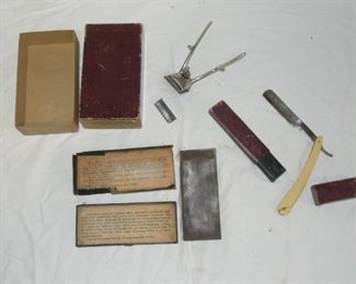 """$35 obo -Western Favorite straight razor in box, has crack in base, easily repaired, """"The Vincent"""" sharpening stone in box. """"Margo"""" barber's use hair clipper in box."""