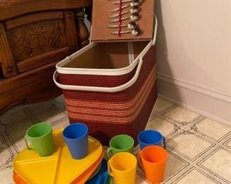 Vintage picnic basket