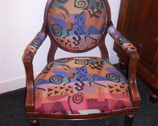 One of Pair of Colorful Chairs